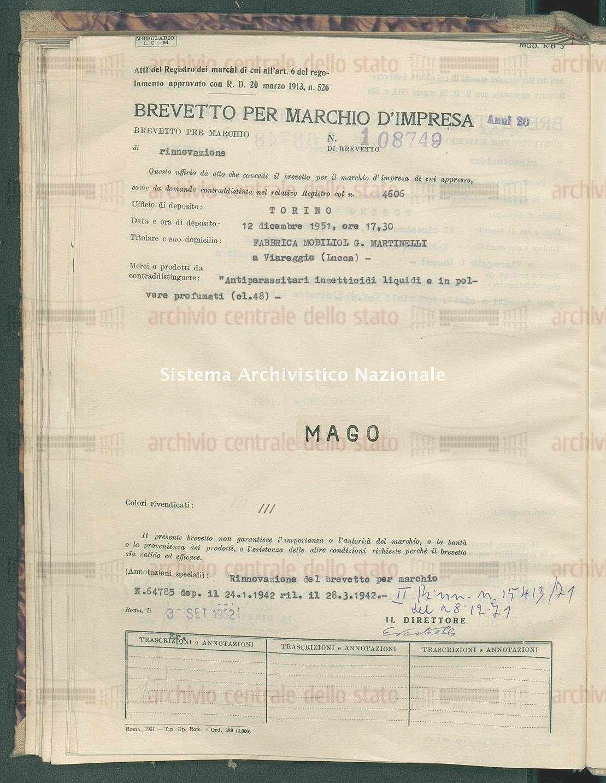 'Antiparassitari insetticidi liquidi e in polvere profumati Fabbrica Mobiliol G. Martinelli (03/09/1952)