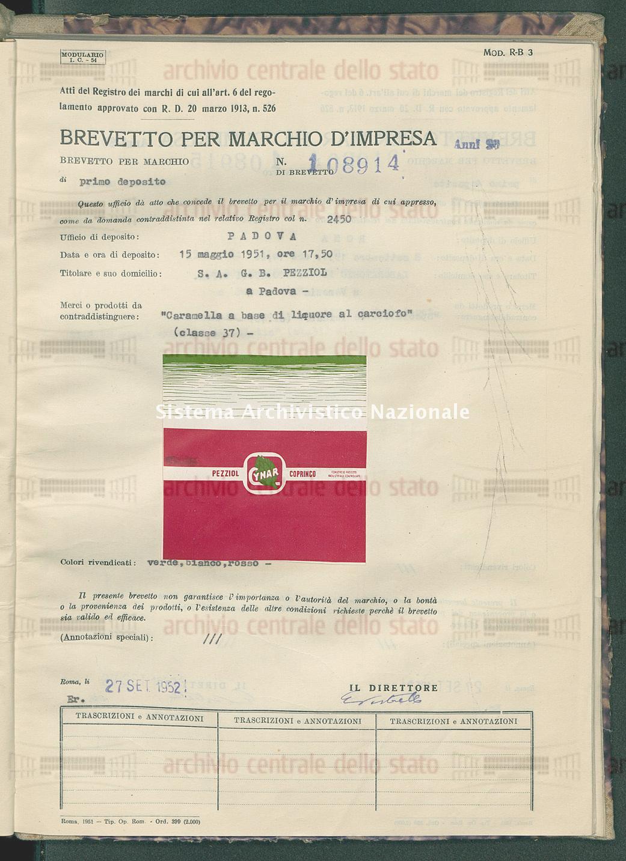 'Caramella a base di liquore al carciofo' S.A. G.B. Pezziol (27/09/1952)