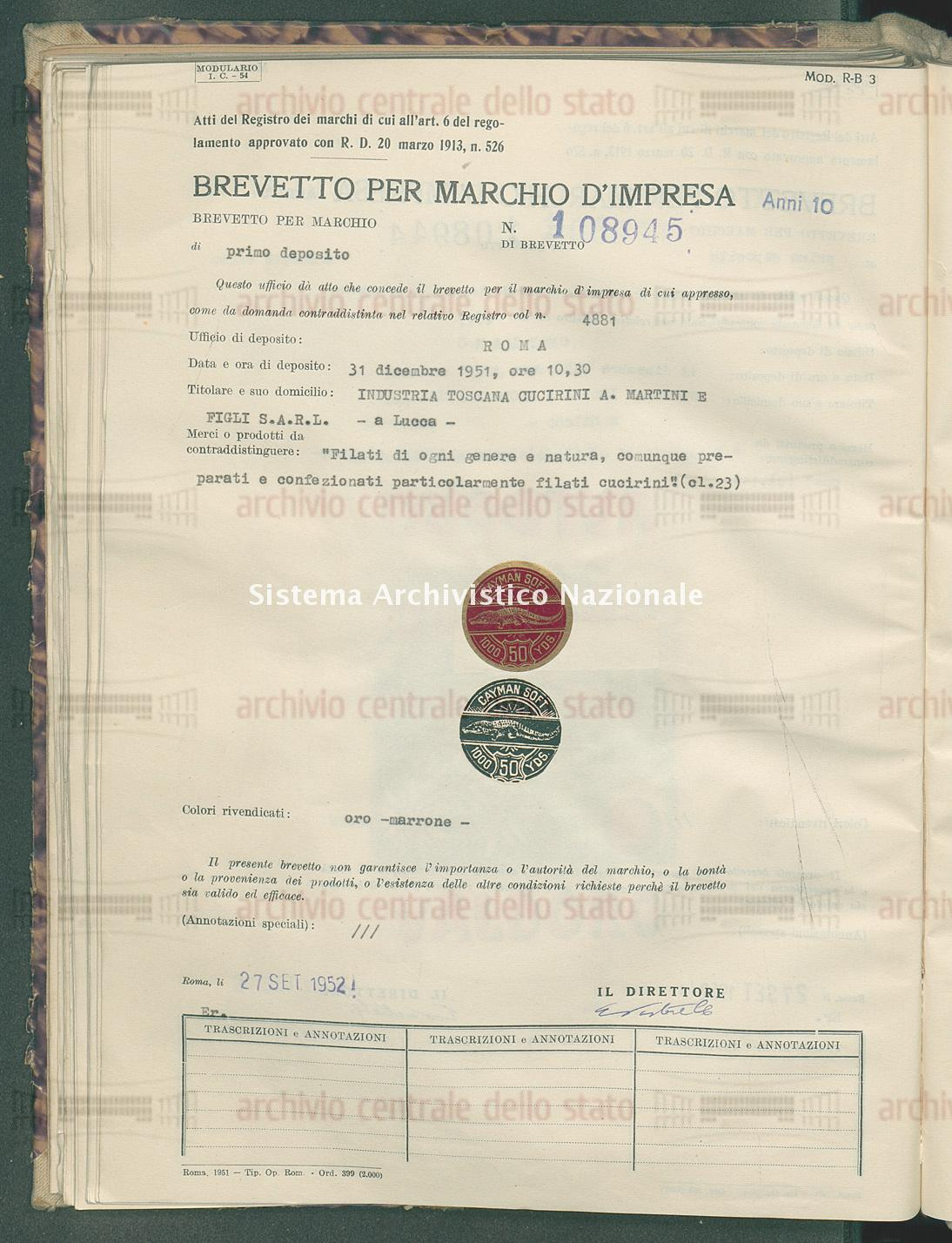 'Filati di ogni genere e natura, comunque preparati e ecc. Industria Toscana Cucirini A. Martini E Figli S.A.R.L. (27/09/1952)
