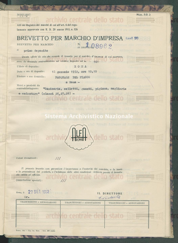 'Camiceria, colletti, guanti, pigiama, maglierie e calzature Pasquale Del Fiacco (27/09/1952)