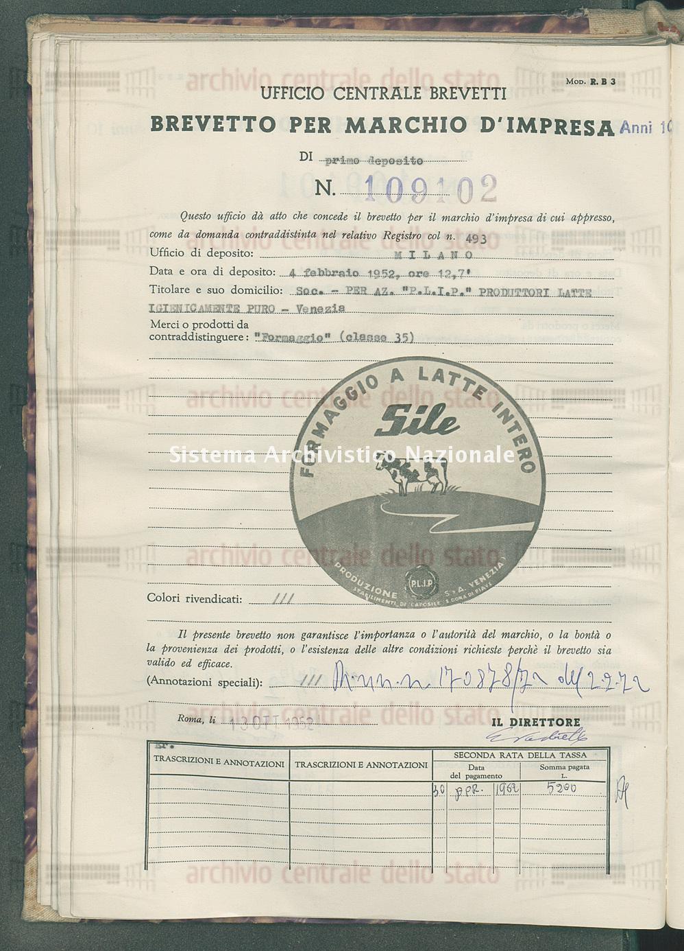'Formaggio' Soc. Per Az. 'P.L.I.P.' Produttori Latte Igienicamente Puro (13/10/1952)