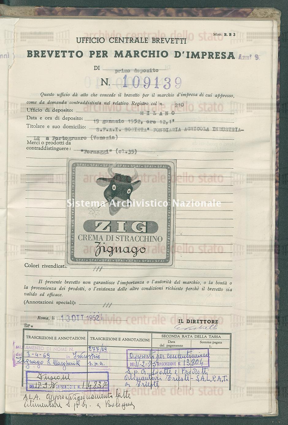 'Formaggi' S.F.A.I. Societa' Fondiaria Agricola Industriale (13/10/1952)