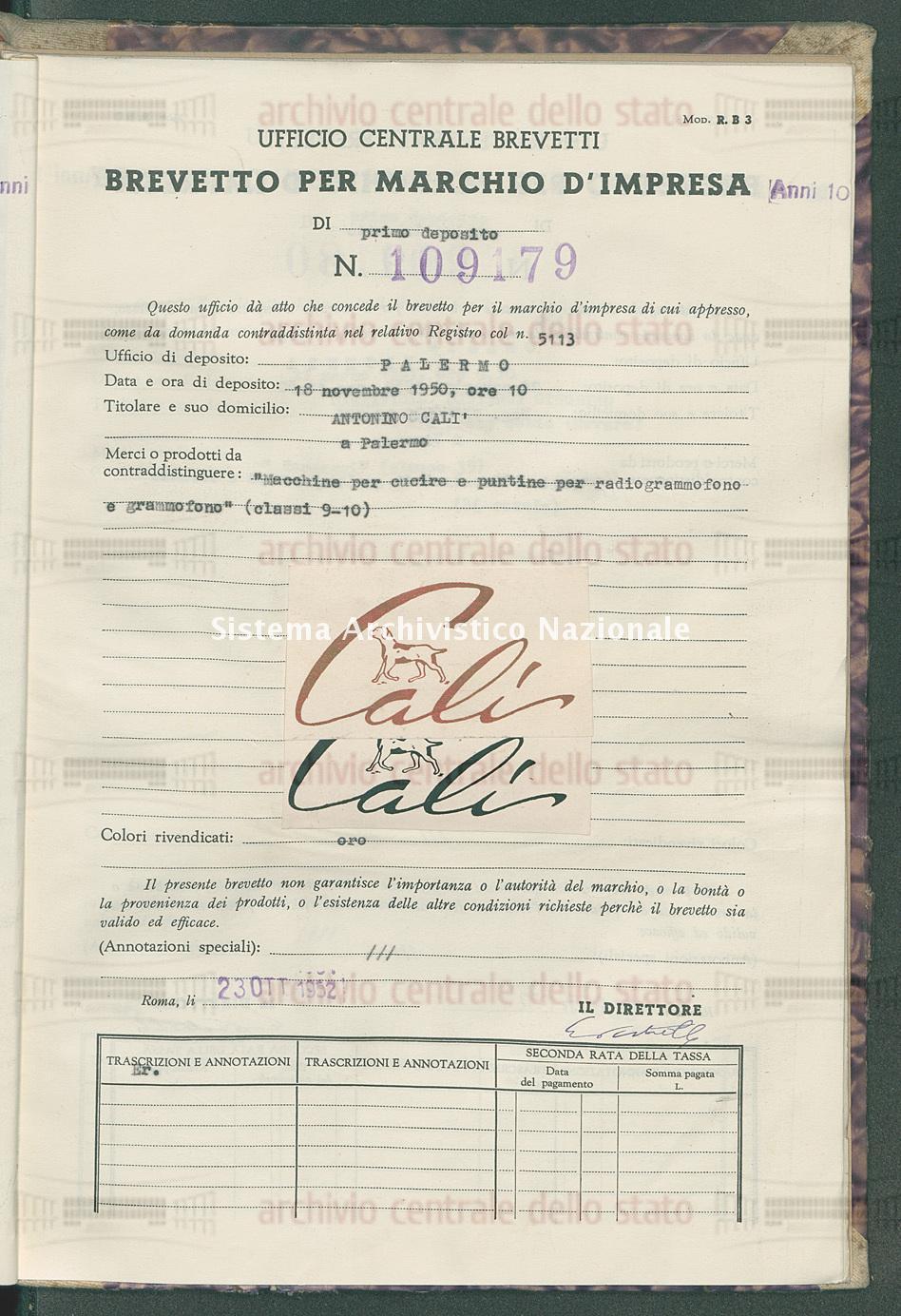 'Macchine per cucire e puntine per radiogrammofono e grammofono' Antonino Cali' (23/10/1952)