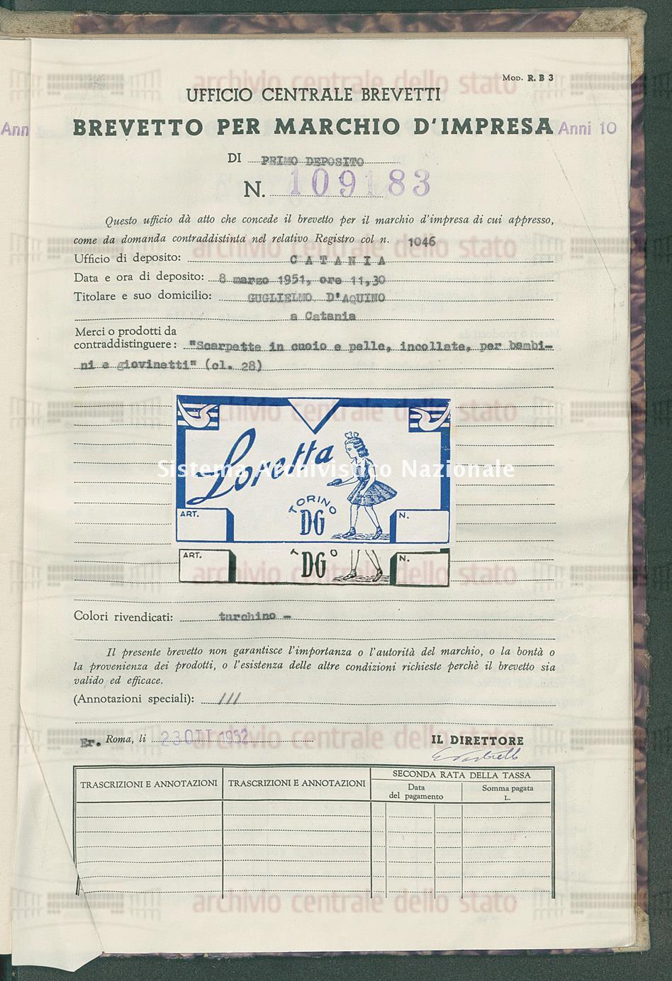 'Scarpette in cuoio e pelle, incollate, per bambini e giovinetti' Guglielmo D'Aquino (23/10/1952)