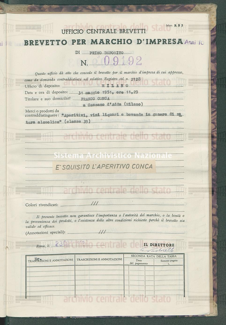 'Aperitivi, vini liquori e bevande in genere di natura alcoolica' Franco Conca (23/10/1952)