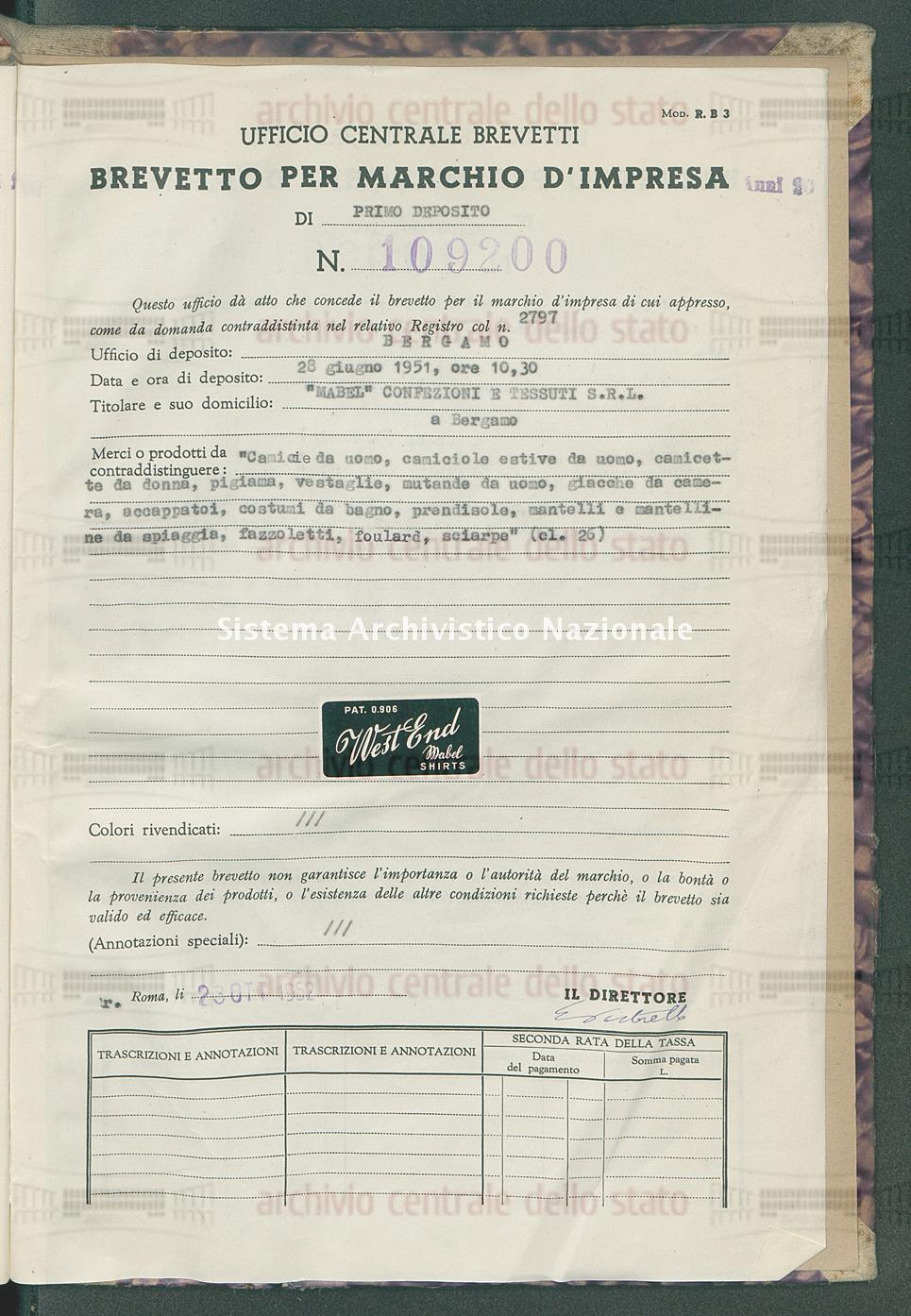 'Camicie da uomo, camiciole estive da uomo, camicette da donna ecc. 'Mabel' Confezioni E Tessuti S.R.L. (23/10/1952)
