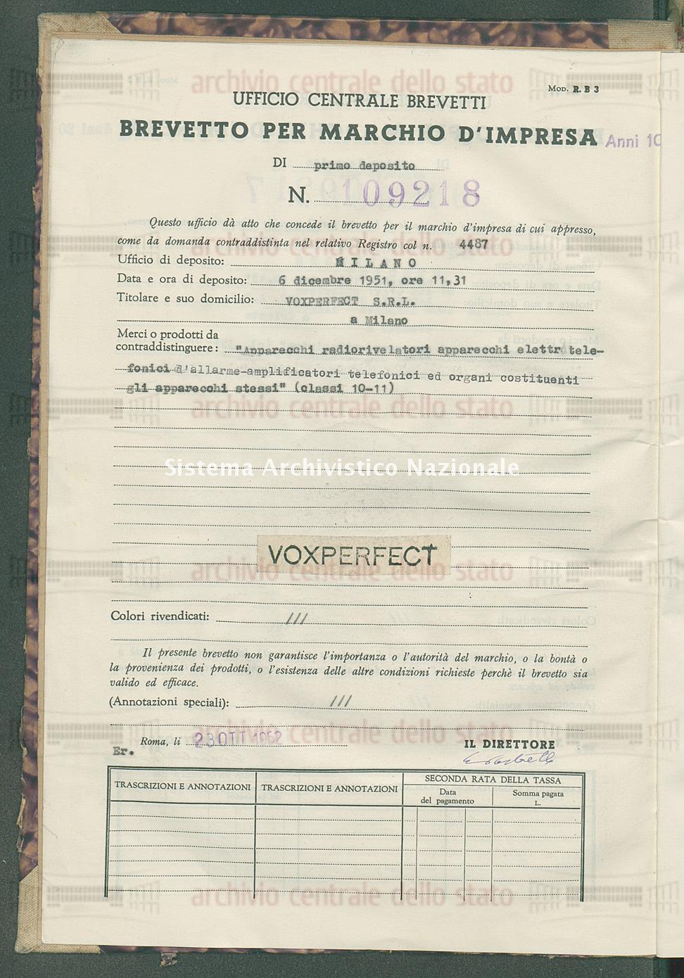 'Apparecchi radiorivelatori apparecchi elettrotelefonici d'allarme ecc Voxperfect S.R.L. (23/10/1952)