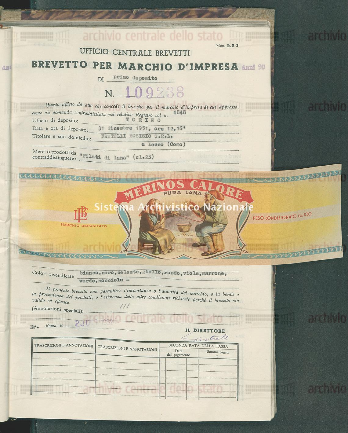 'Filati di lana' Fratelli Bosisio S.R.L. (23/10/1952)