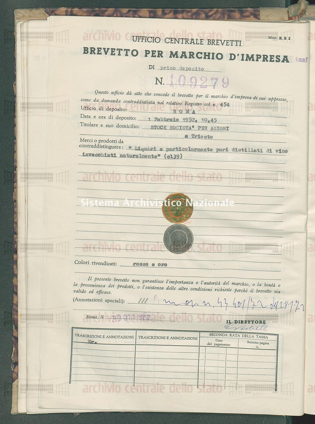 'Liquori e particolarmente puri distillati di vino invecchiati ecc. Stock Societa' Per Azioni (30/10/1952)