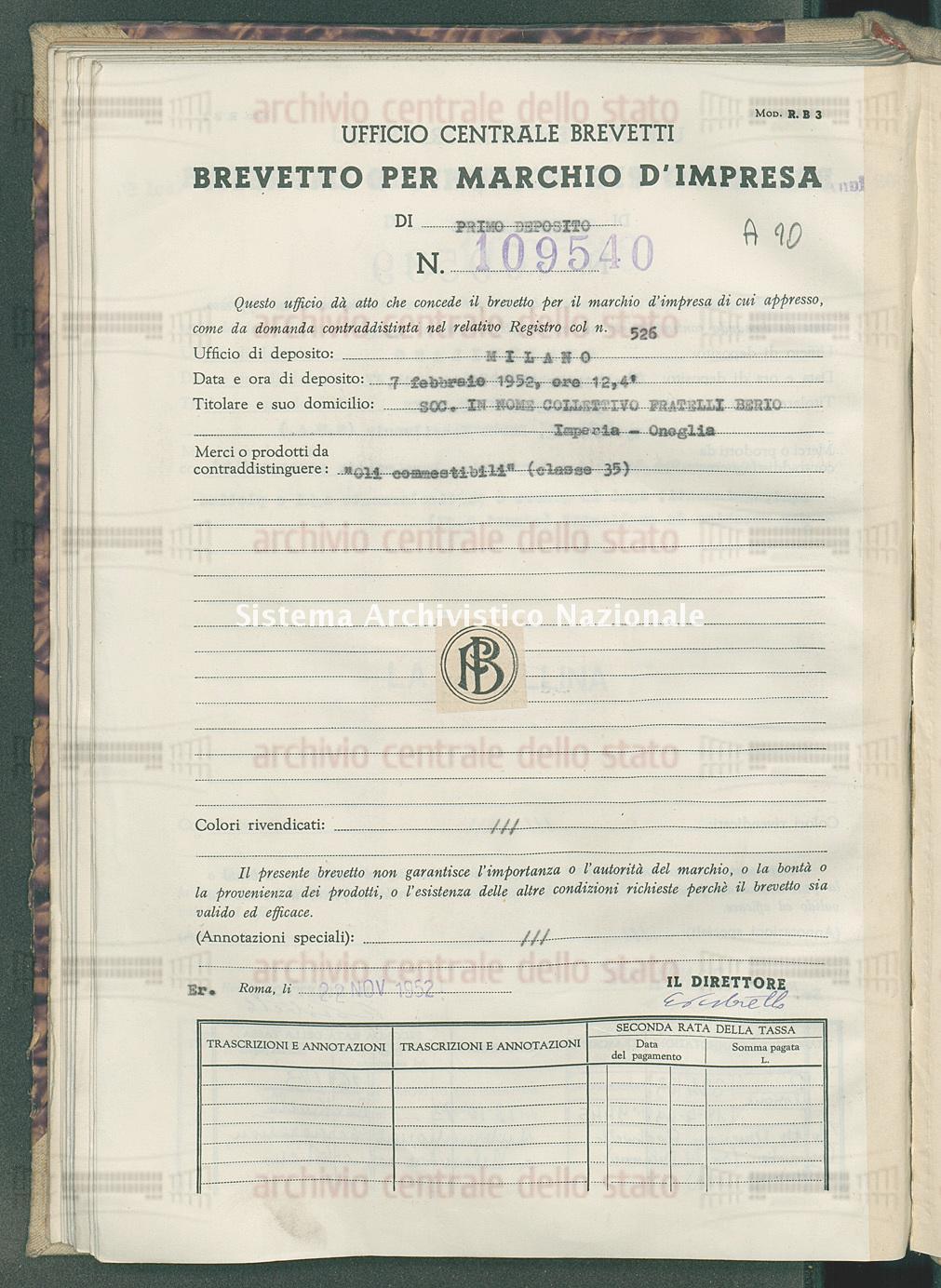 'Oli commestibili' Soc. In Nome Collettivo Fratelli Berto (22/11/1952)