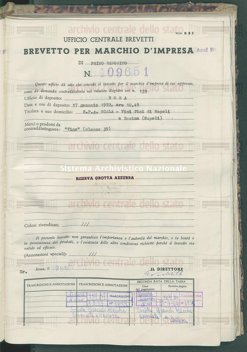 'Vino' S.P.A. Scala - Vini Fini (25/11/1952)
