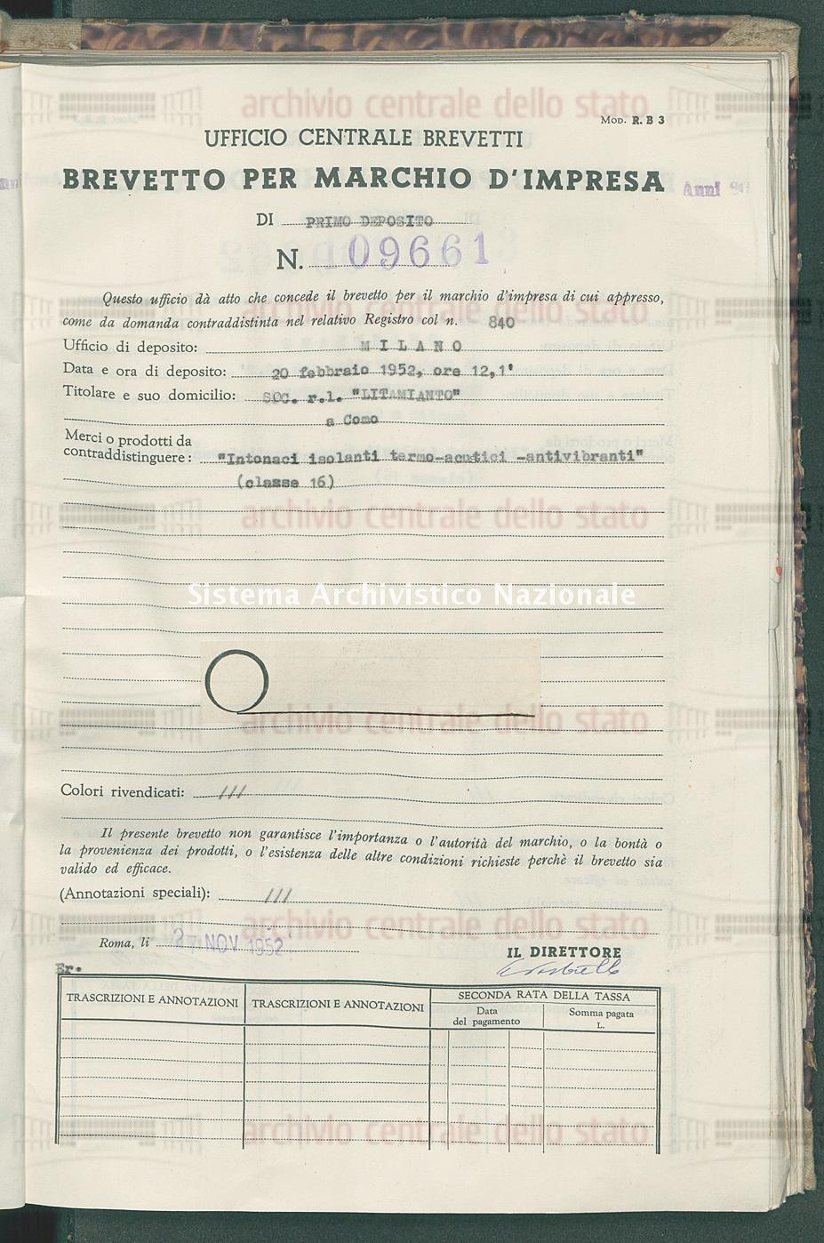 'Intonaci isolanti termo-acustici - antivibranti' Soc.R.L. 'Litamianto' (27/11/1952)