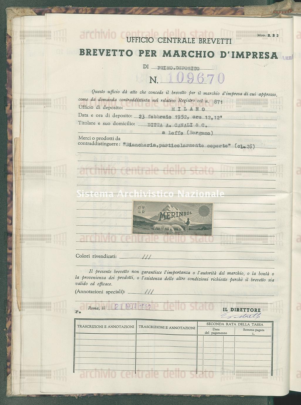 'Biancheria, particolarmente coperte' Ditta A. Canali & C. (27/11/1952)
