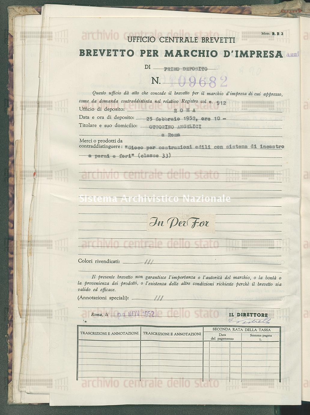 'Gioco per costruzioni edili con sistema di incastro a perni e fori' Ottorino Angelici (27/11/1952)