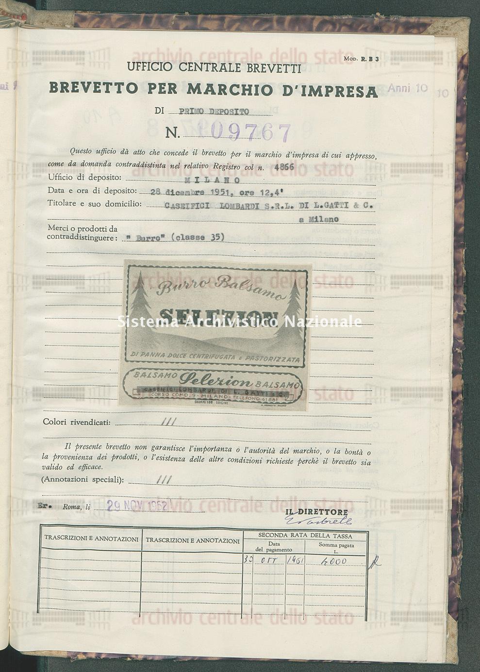 'Burro' Caseifici Lombardi S.R.L. Di L. Gatti & C. (29/11/1952)