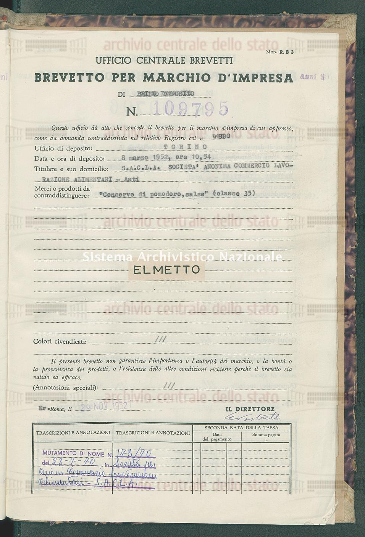 'Conserve di pomodoro, salse' S.A.C.L.A. Societa' Anonima Commercio Lavorazione Alimentari (29/11/1952)