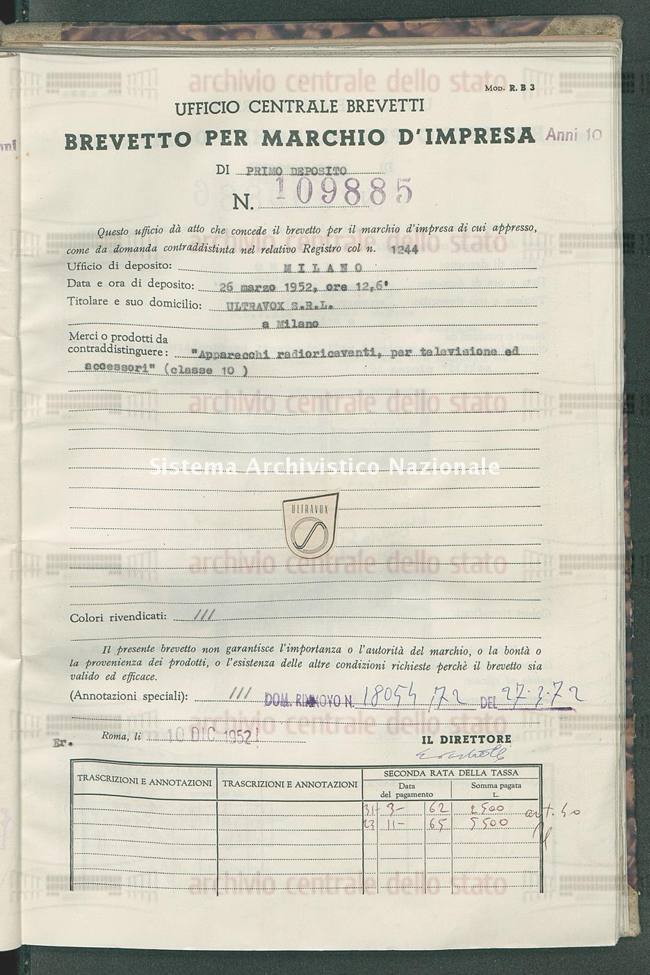 'Apparecchi radioriceventi, per televisione ed accessori' Ultravox S.R.L. (10/12/1952)