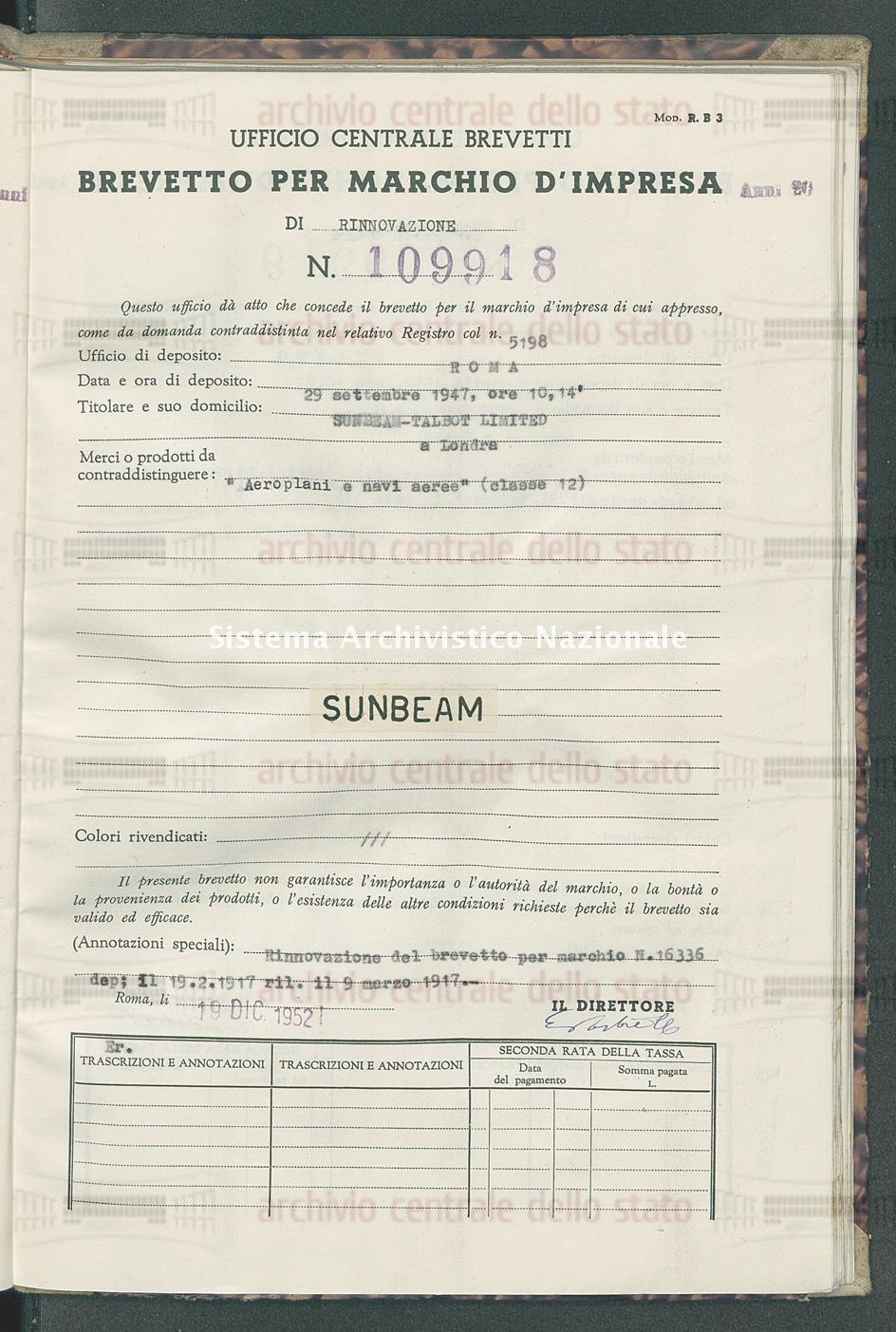'Aereoplani e navi aeree' Sunbeam-Talbot Limited (19/12/1952)