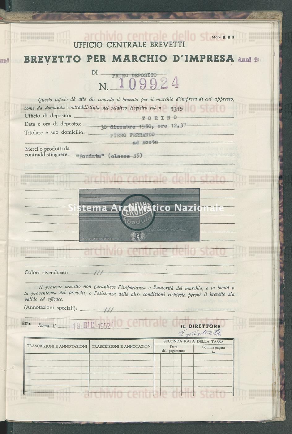 'Fonduta' Piero Ferrando (19/12/1952)