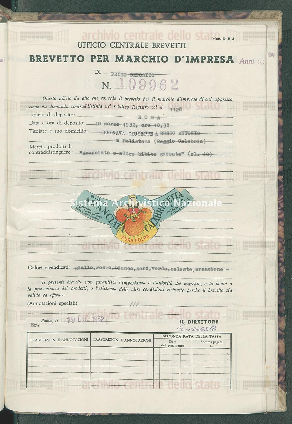 'Aranciata e altre bibite gassate' Belnava Giuseppe & Russo Antonio (19/12/1952)