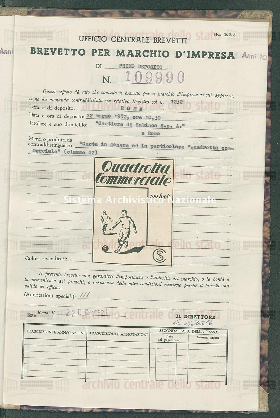 'Carta in genere ed in particolare 'quadrotta commerciale' 'Cartiera Di Subiaco S.P.A.' (22/12/1952)