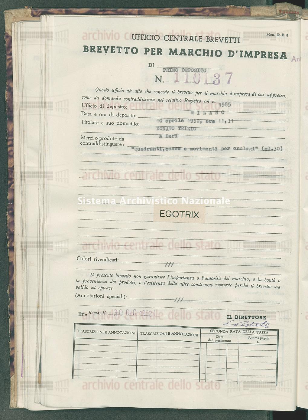 'Quadranti, casse e movimenti per orologi Donato Trizio (30/12/1952)