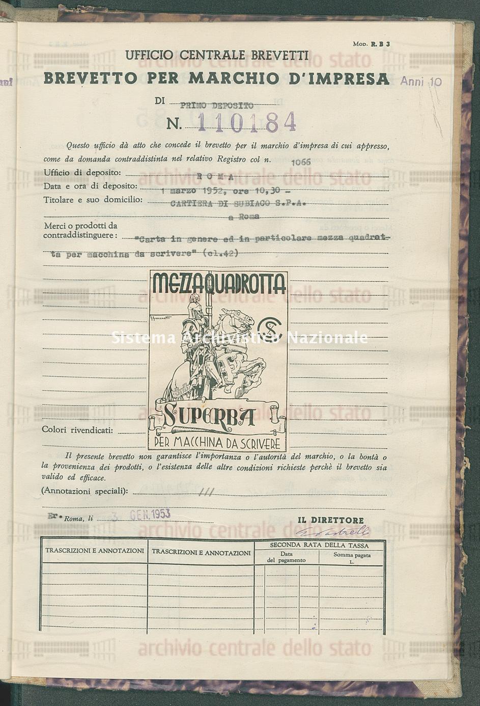 'Carta in genere ed in particolare mezza quadretta ecc. Cartiera Di Subiaco S.P.A. (03/01/1953)