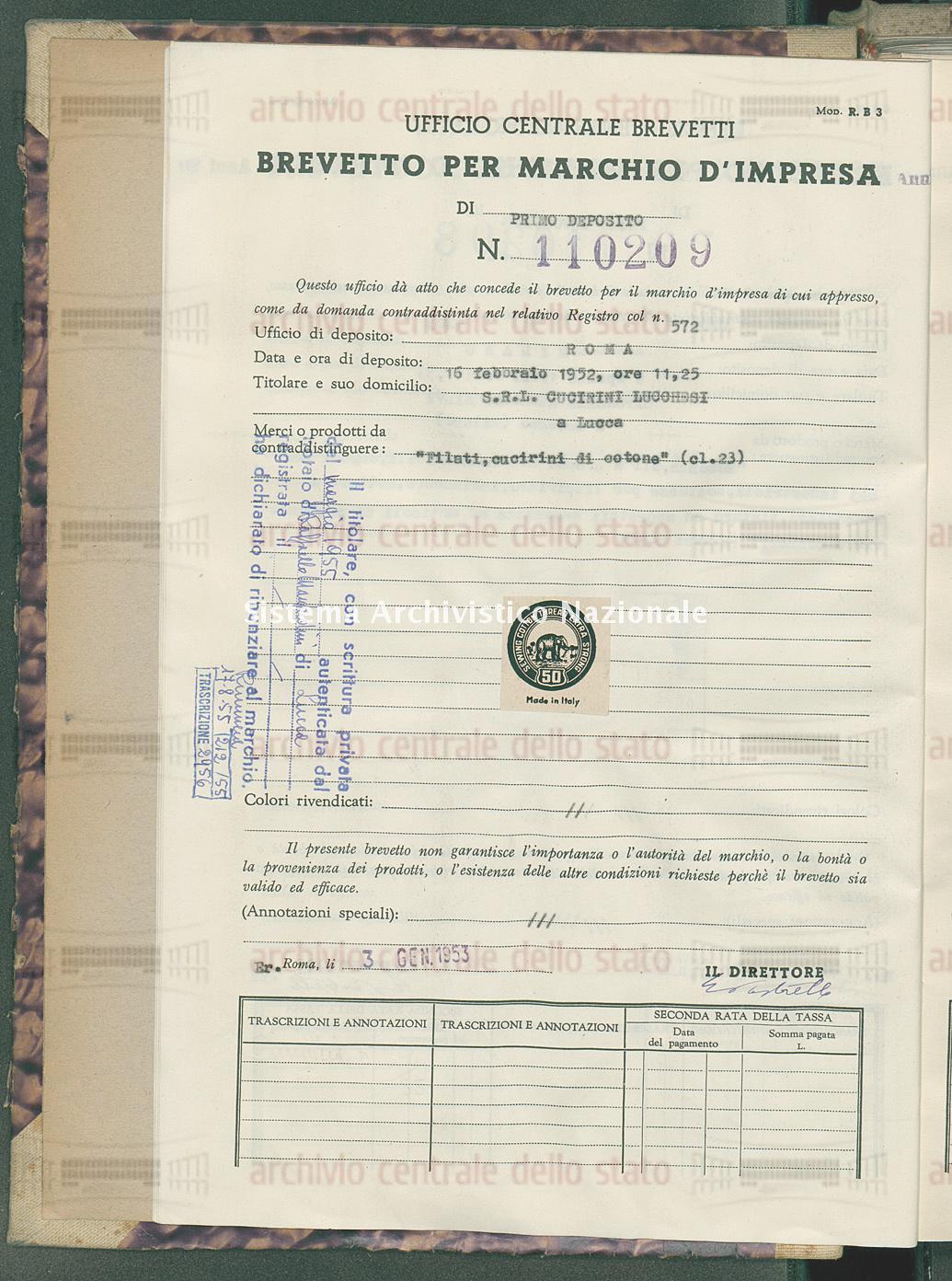 'Filati, cucirini di cotone' S.R.L. Cucirini Lucchesi (03/01/1953)