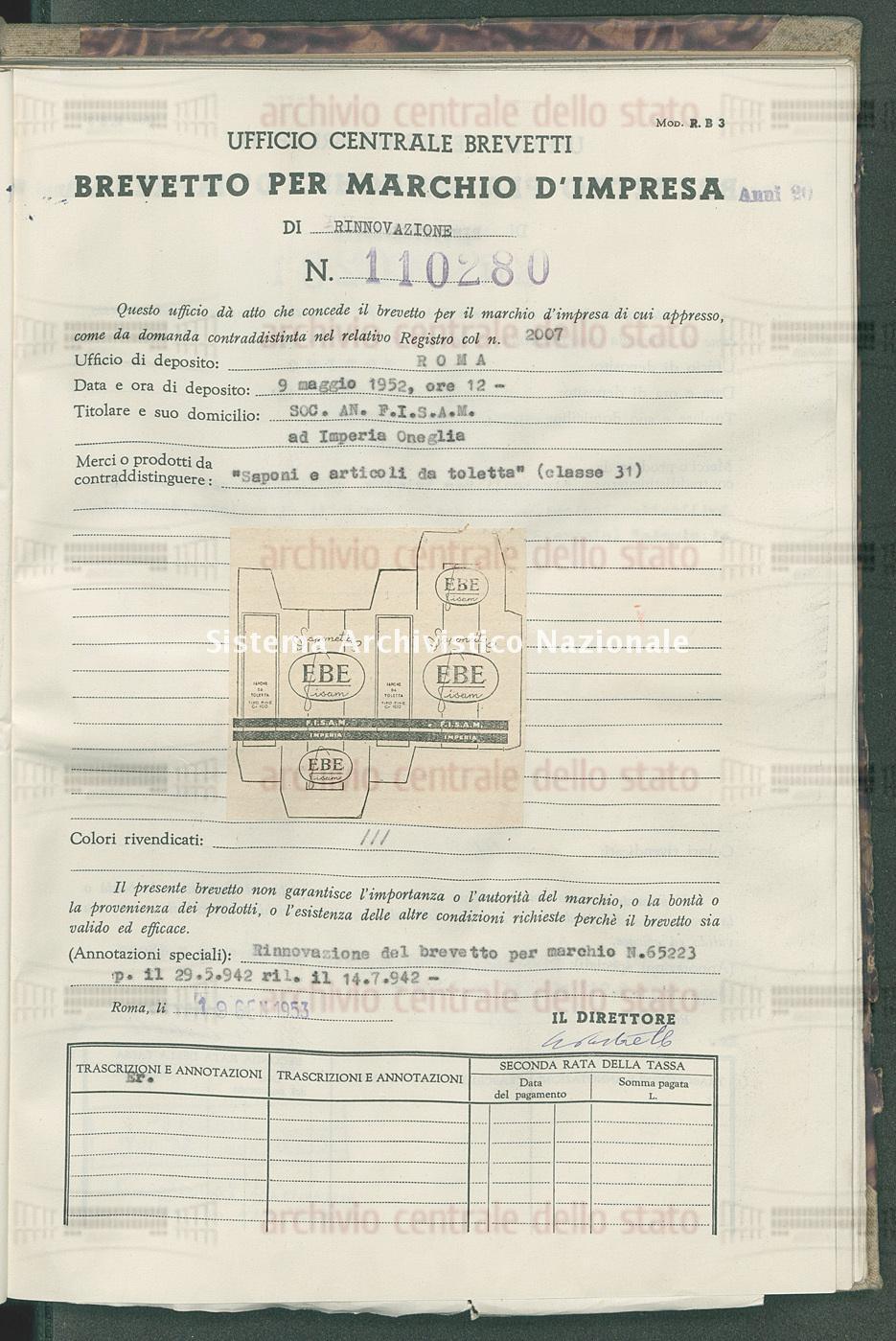 'Saponi e articoli da toletta' Soc.An. F.I.S.A.M. (19/01/1953)