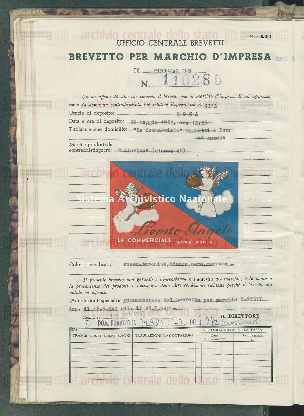 'Lievito' 'La Commerciale' Mighetti &Duca (19/01/1953)