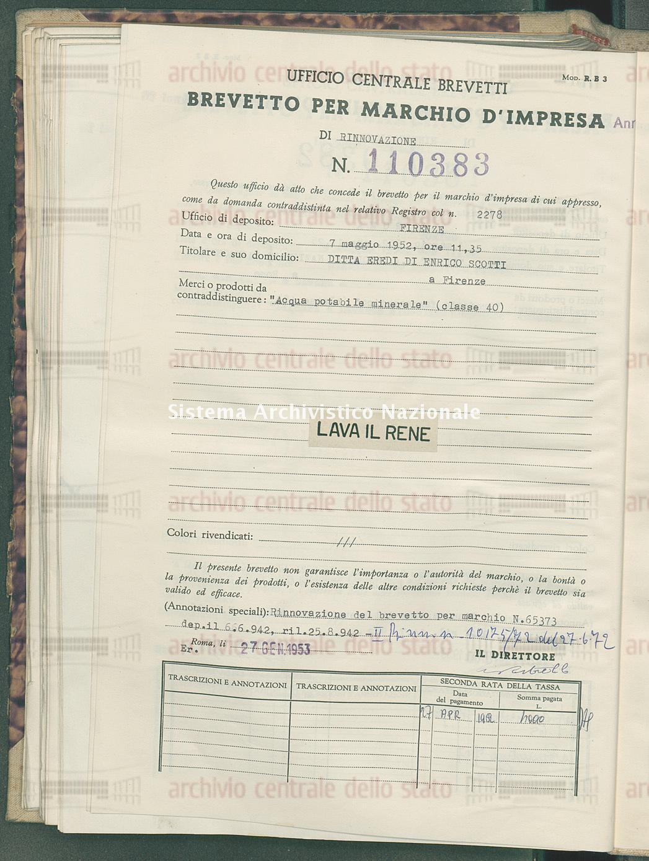 'Acqua potabile minerale' Ditta Eredi Di Enrico Scotti (27/01/1953)