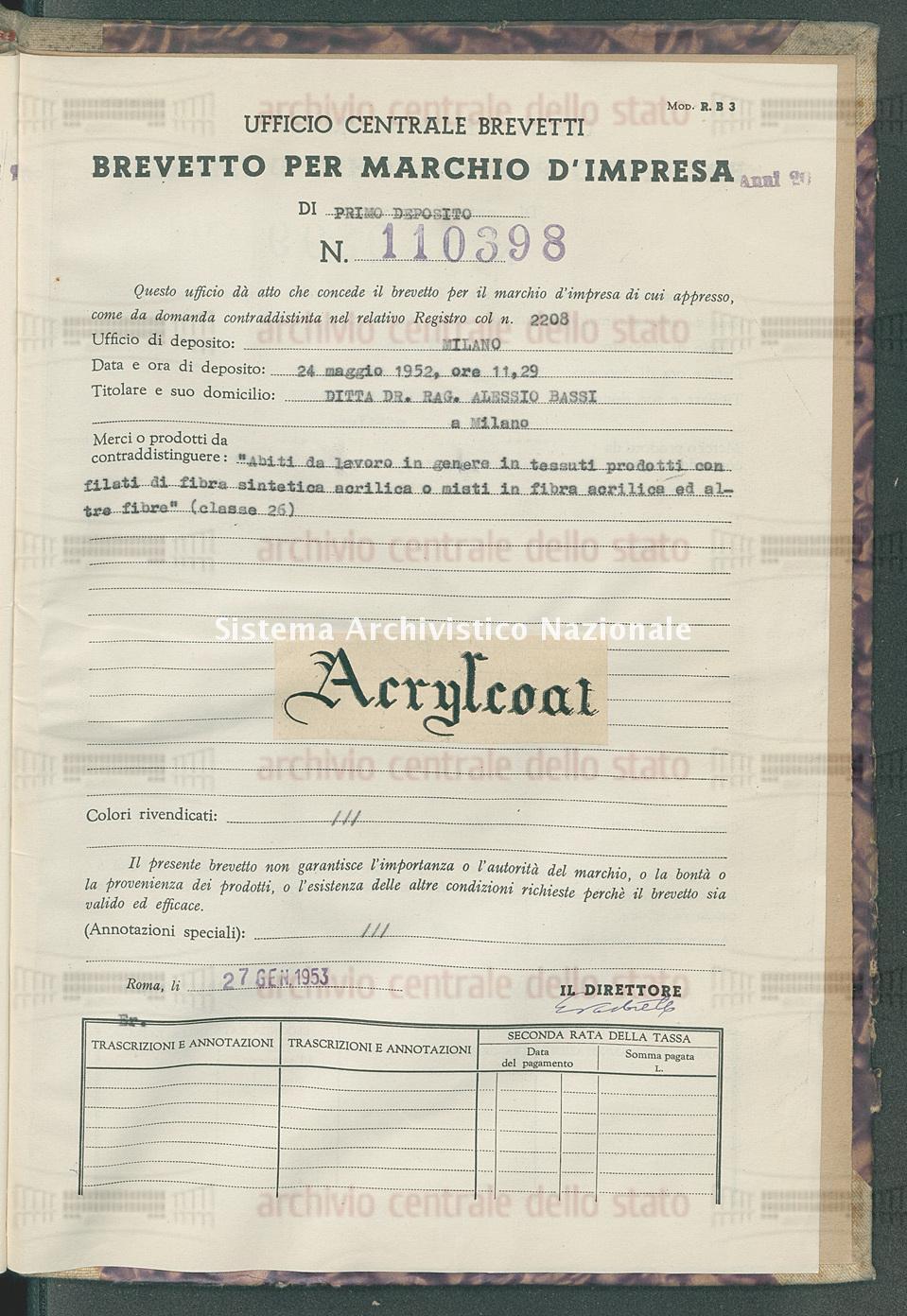 'Abiti da lavoro in genere in tessuti prodotti con filati ecc. Ditta Dr. Rag. Alessio Bassi (27/01/1953)