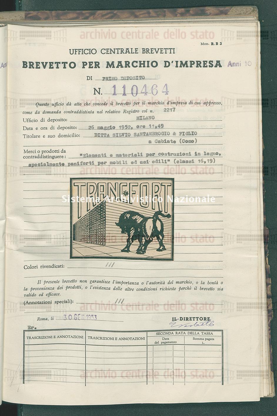 'Elementi e materiali per costruzioni in legno, specialmente ecc. Ditta Silvio Santambrogio & Figlio (30/01/1953)