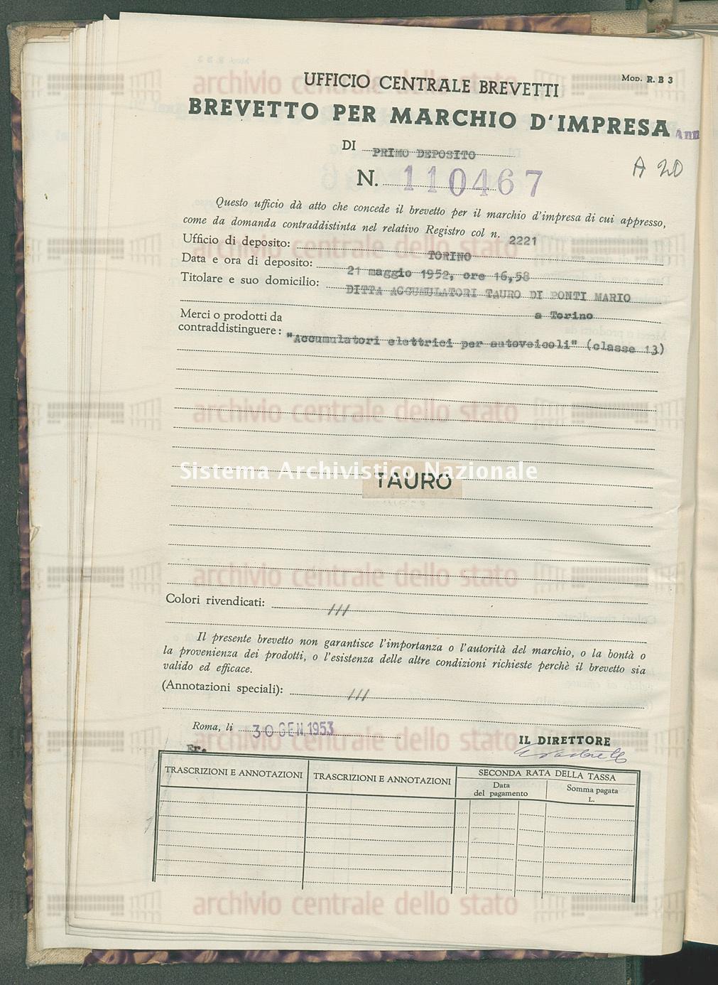 'Accumulatori elettrici per autoveicoli' Ditta Accumulatori Tauro Di Ponti Mario (30/01/1953)