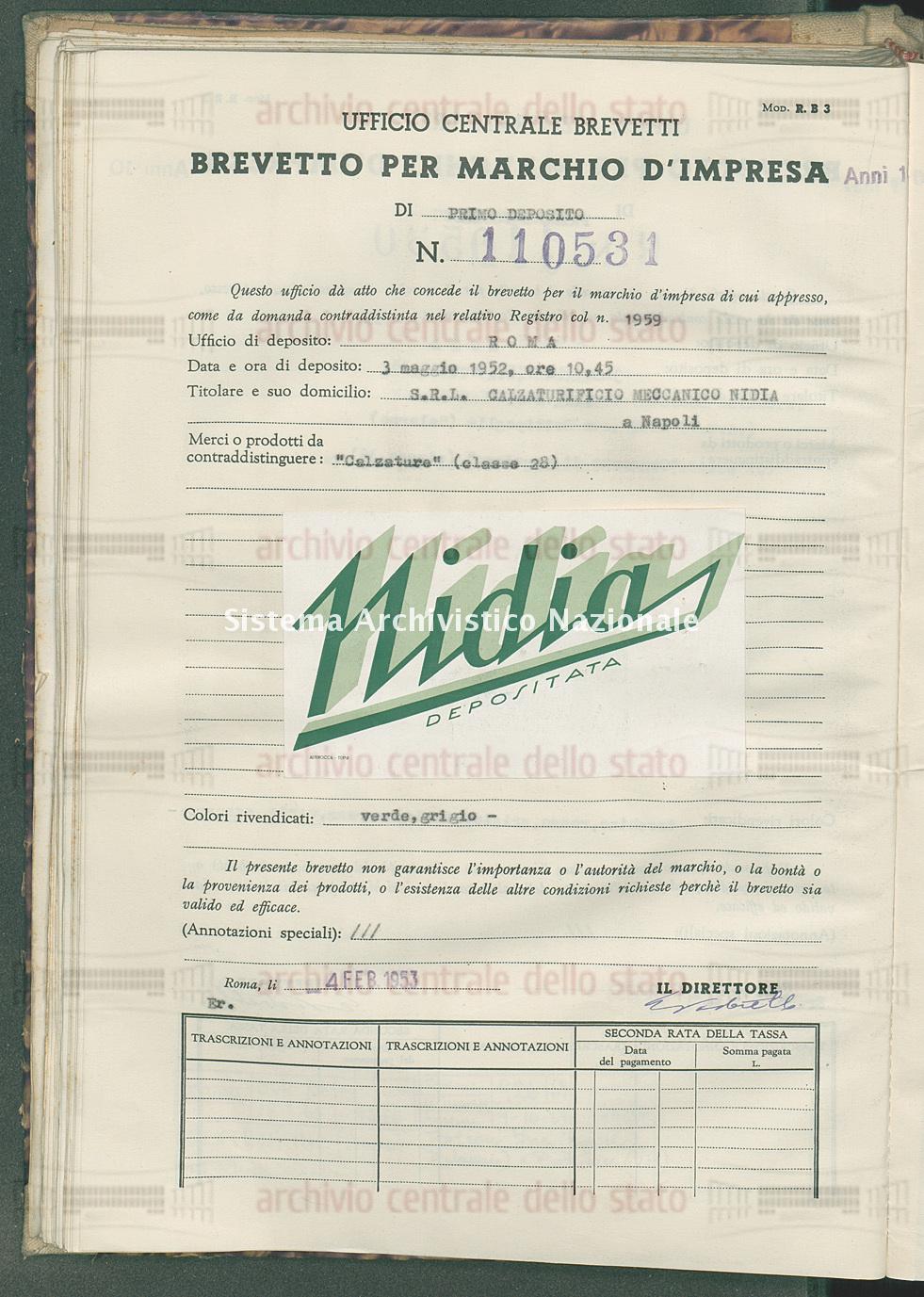 'Calzature' S.R.L. Calzaturificio Meccanico Nidia (04/02/1953)