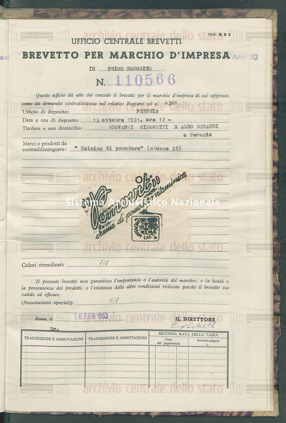 'Salsina di pomodoro' Giovanni Simonetti E Aldo Berardi (16/02/1953)