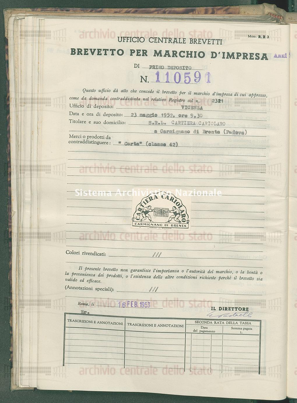 'Carta' S.R.L. Cartiera Cariolaro (16/02/1953)