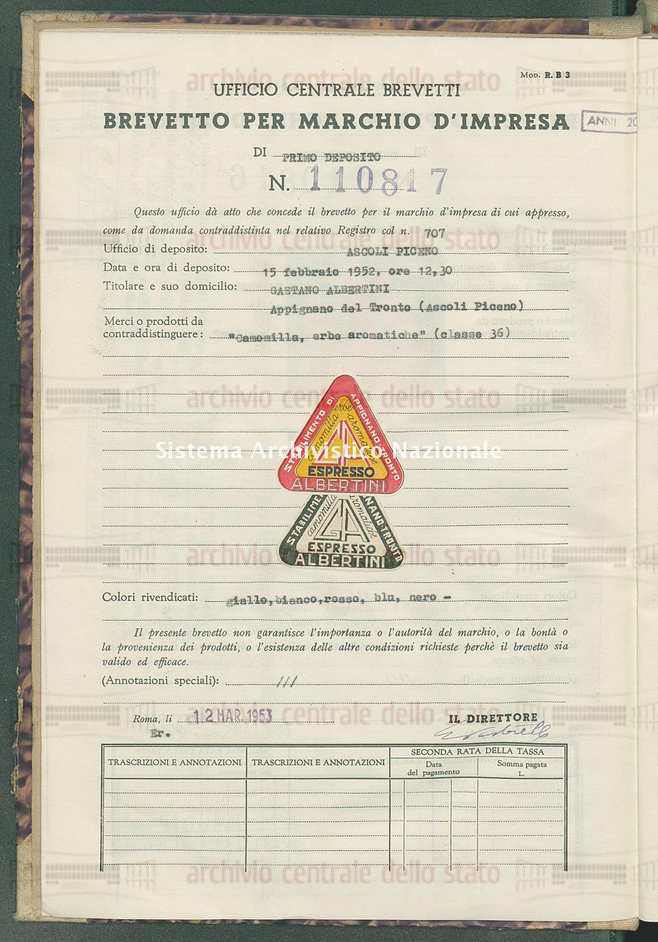 'Camomilla, erbe eromatiche' Gaetano Albertini (12/03/1953)