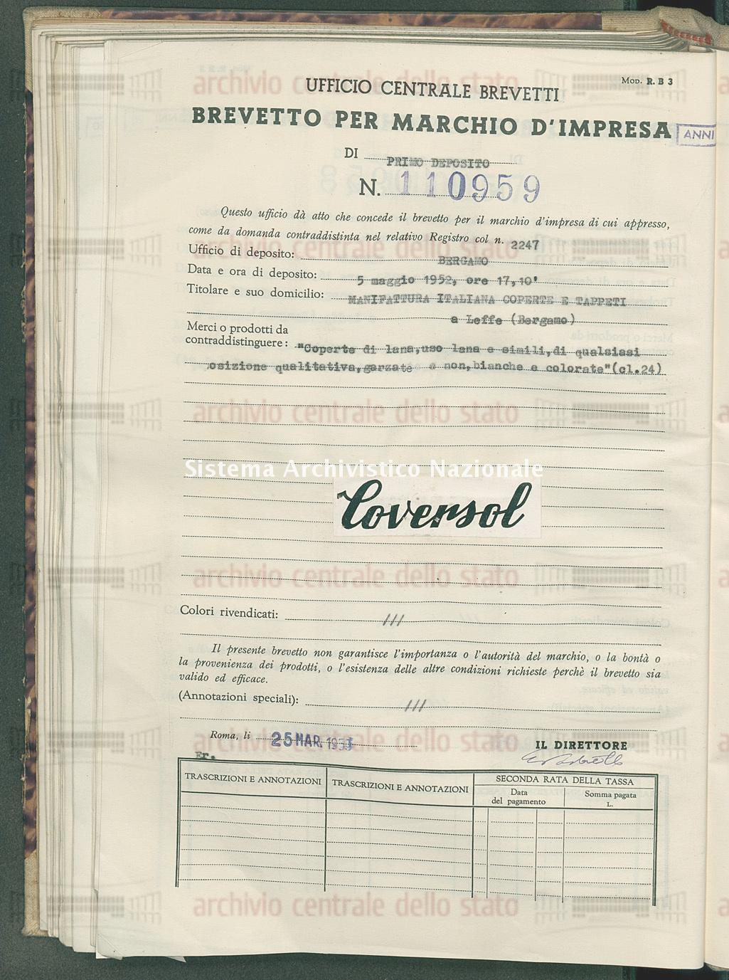 'Coperte di lana uso lana e simili di qualsiasi composizione qualitati Manifattura Italiana Coperte E Tappeti (25/03/1953)