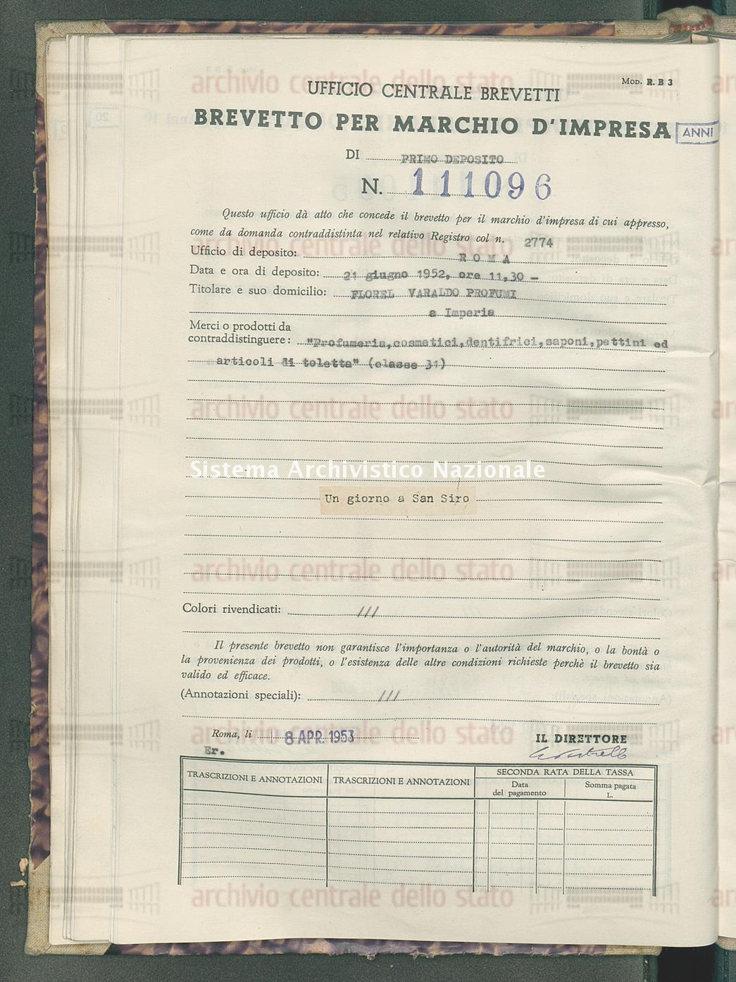 'Profumeria, cosmetici, dentifrici, saponi, pettini ed articoli di tol Florel Varaldo Profumi (08/04/1953)