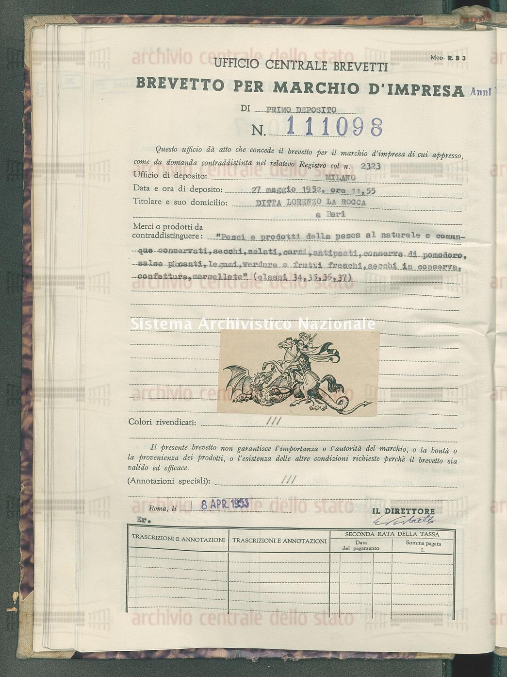 'Pesci e prodotti della pesca al naturale e comunque conservati, ecc. Ditta Lorenzo La Rocca (08/04/1953)