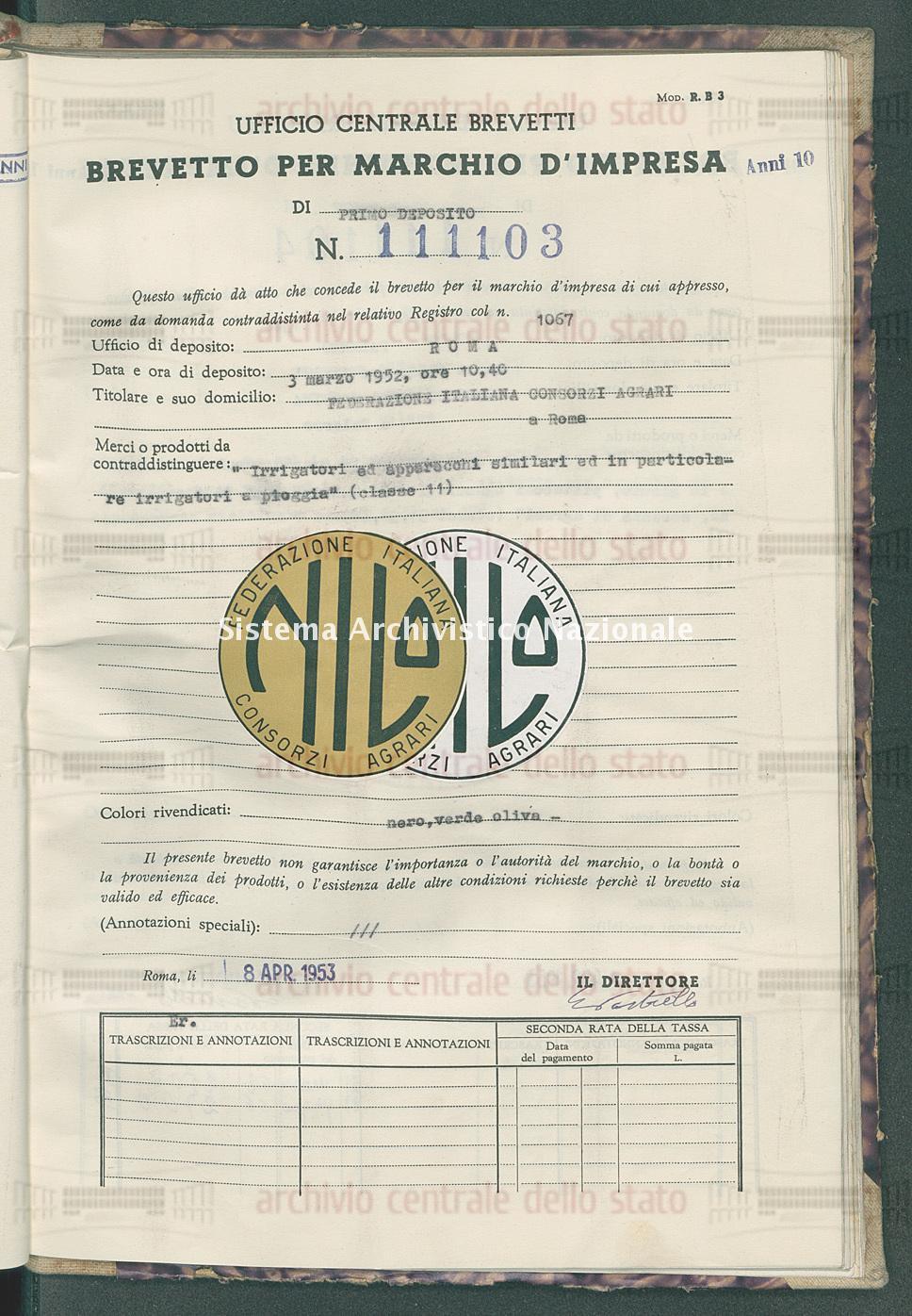 'Irrigatori ed apparecchi similari ed in particolare irrigatori a piog Federazione Italiana Consorzi Agrari (08/04/1953)
