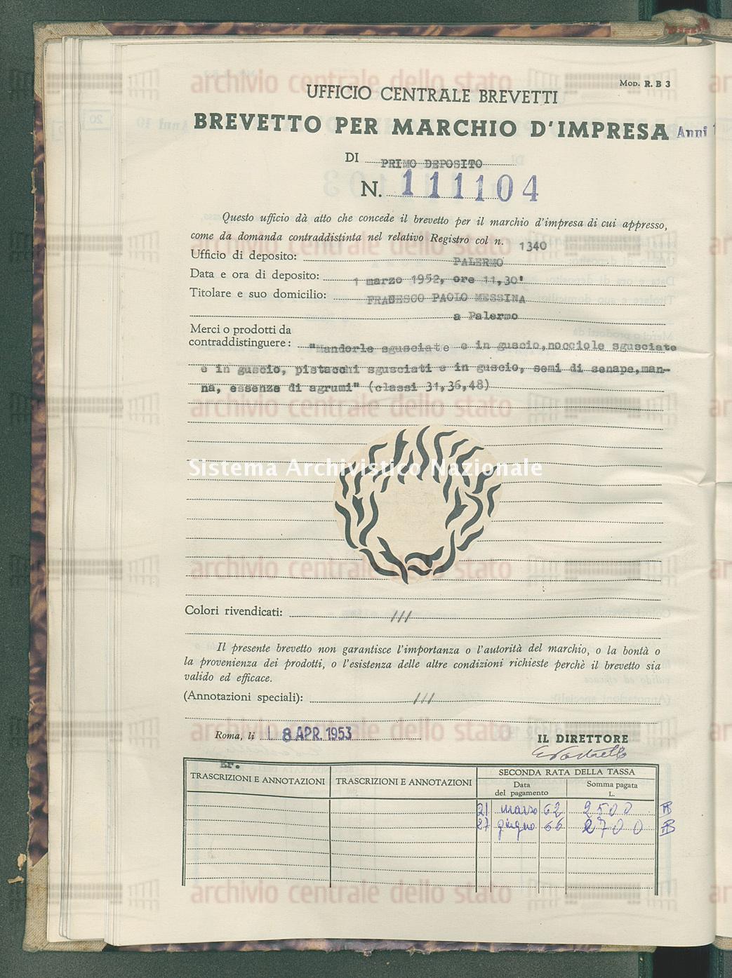 'Mandorle sgusciate e in guscio, nocciole sgusciate e in guscio, ecc. Fracesco Paolo Messina (08/04/1953)