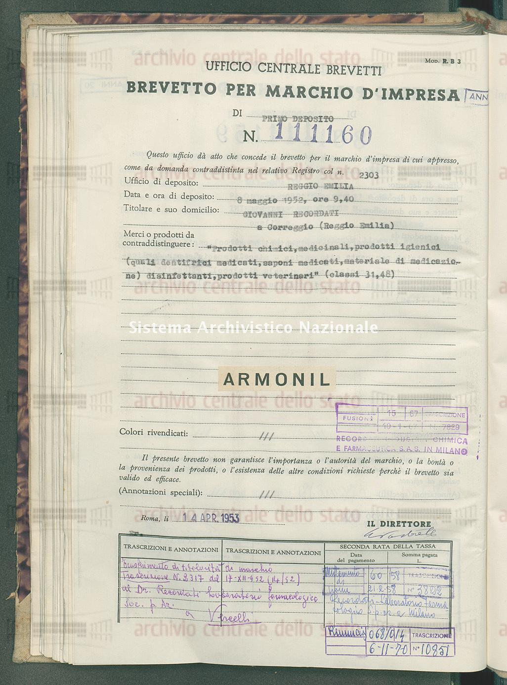 'Prodotti chimici, medicinali, prodotti igienici ecc. Giovanni Recordati (14/04/1953)