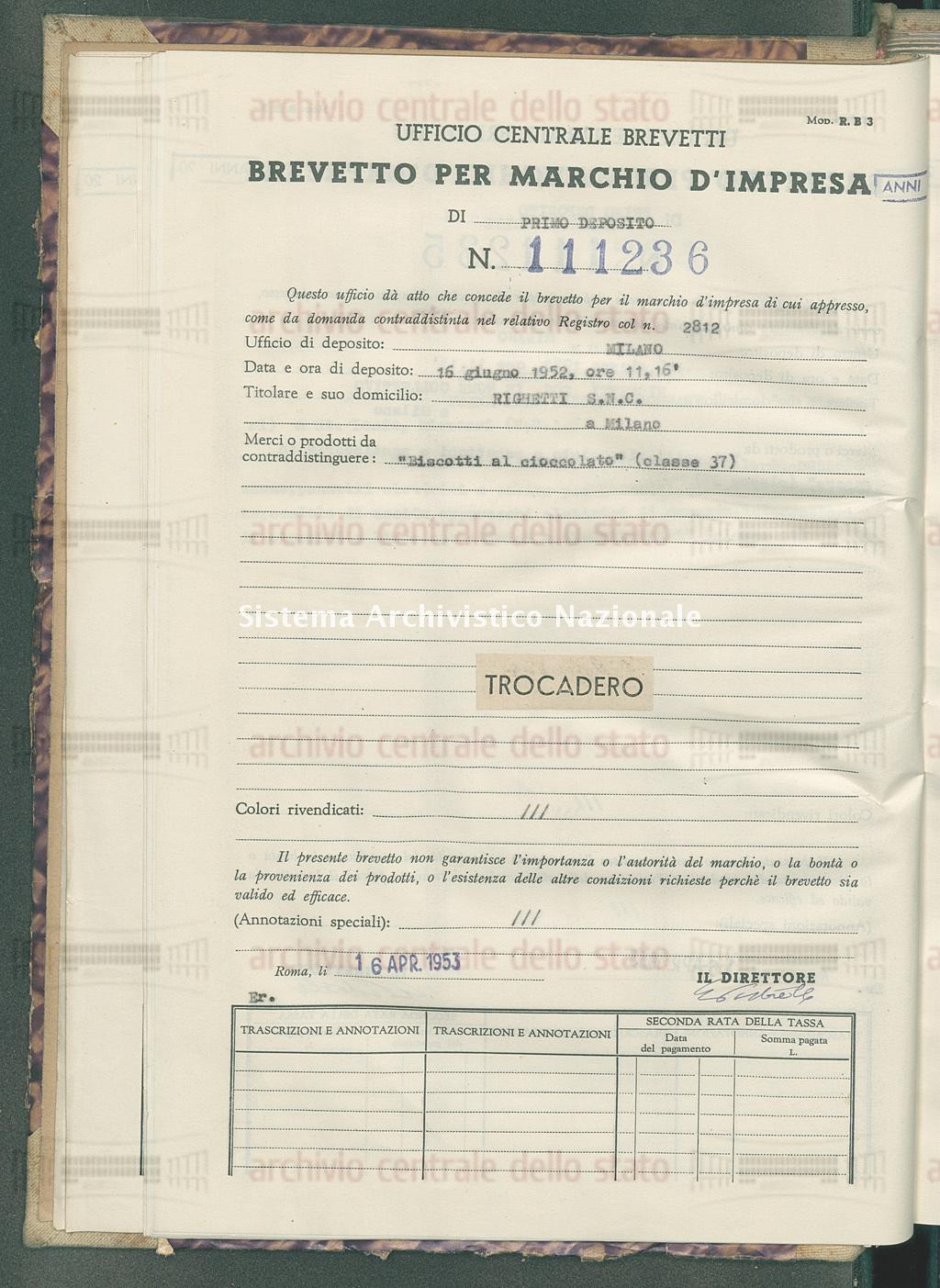 'Biscotti al cioccolato' Righetti S.N.C. (16/04/1953)