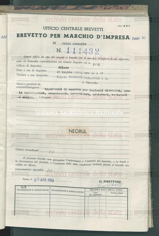 Apparecchi di manovra per impianti elettrici, quali interruttori, ecc. S.P.A.Federico Palazzoli & C. (27/04/1953)