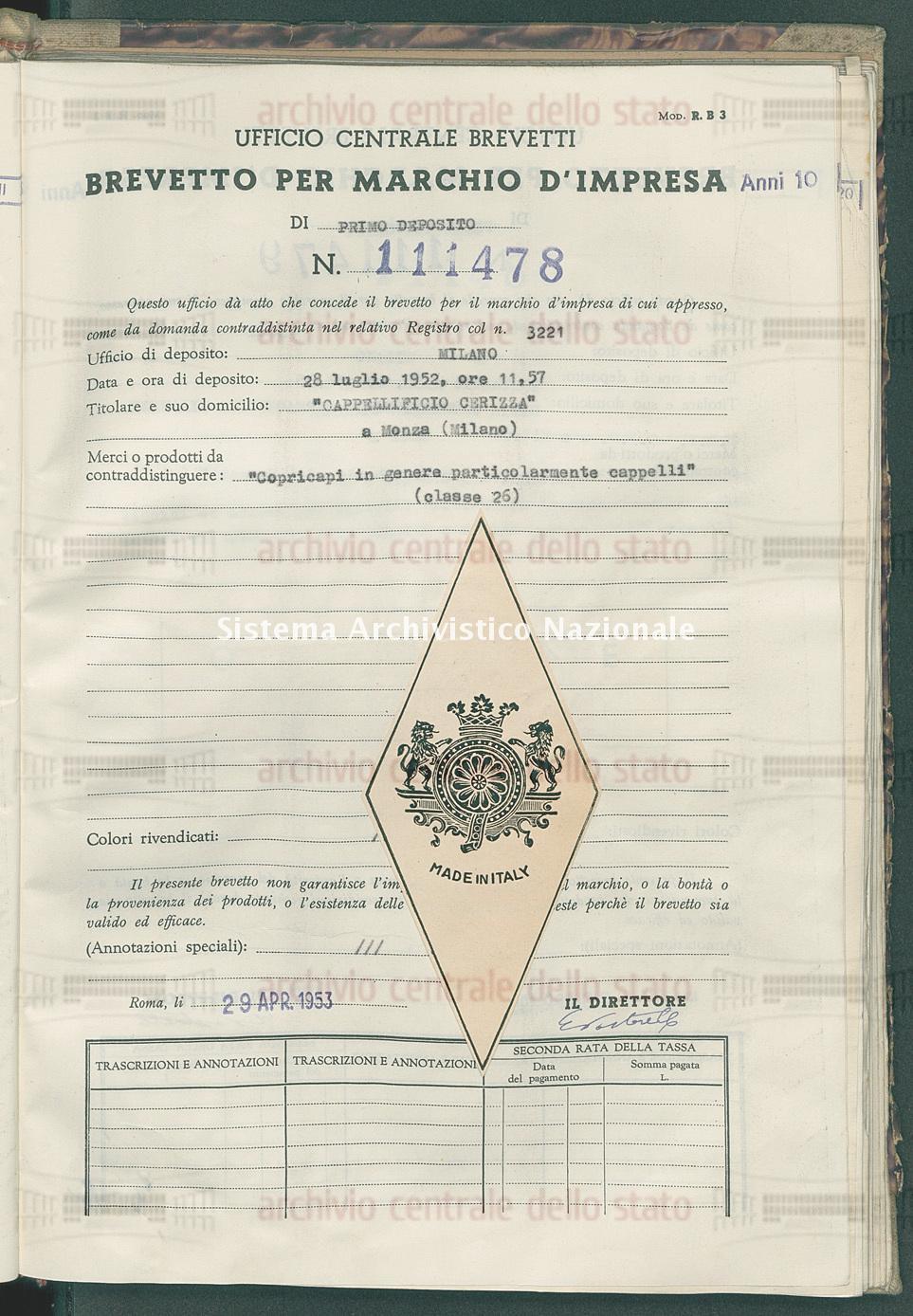 'Copricapi in genere particolarmente cappelli' 'Cappellificio Cerizza' (29/04/1953)