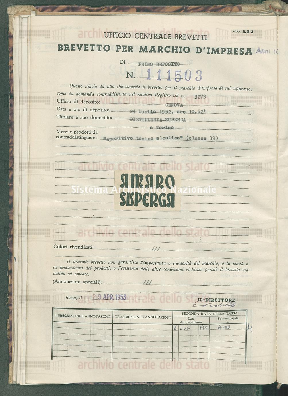 'Aperitivo tonico alcolico' Distilleria Superga (29/04/1953)