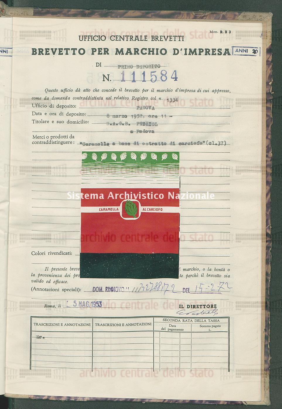 'Caramelle a base di estratto di carciofo' S.A.G.B.Pezziol (05/05/1953)
