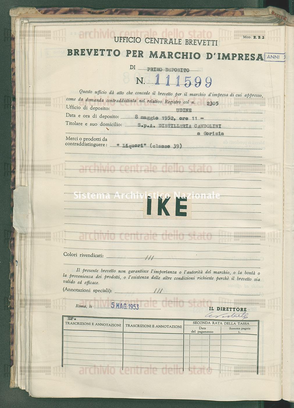 'Liquori' S.P.A.Distilleria Candolini (05/05/1953)